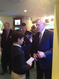 Secretary Mabus presented me a challenge coin after our interview.