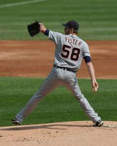 Doug Wildes Fister Born: February 4, 1984 (30 years old) in Merced, CA Height: 6'8 Throws: R, Bats L (signs autographs left too!) Drafted: 2006, Mariners, 7th round MLB Debut: 2009 Career E.R.A: 3.53 2013 E.R.A.: 3.67  College: Fresno State HS: Golden Valley Jersey Number: 58 Pitches: 2-seam, 4-seam, changeup, sinker.  (The sinker is his plus pitch). Cat: Mr. Hiss