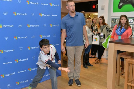 "Stephen Strasburg and I ""bowling"" in a game of Kinect Sports Rivals on Xbox One."