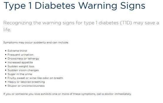 Symptoms of Type 1 Diabetes from Juvenile Diabetes Research Fund (jdrf.org)