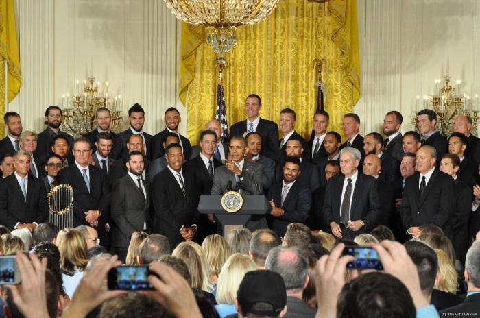 President Obama Welcomed the 2015 World Series Champion Kansas City Royals. (C) 2016 MattsBats.com